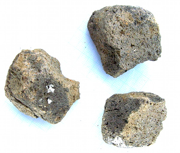 Fragments of lava quernstone, used for grinding wheat into flour
